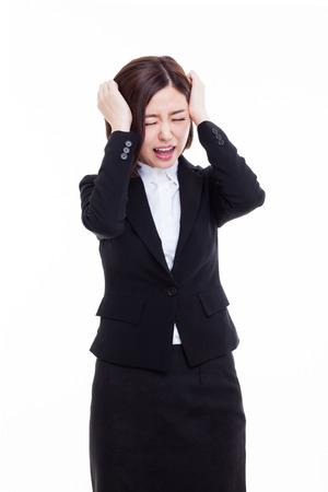Jonge zaken hebben een stress geïsoleerd op een witte achtergrond.