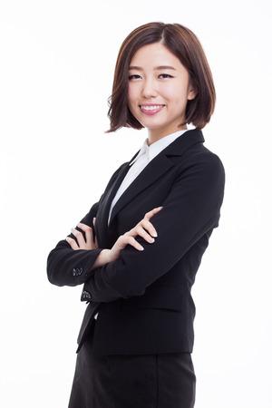 Yong mooie Aziatische zakenvrouw geïsoleerd op een witte achtergrond. Stockfoto