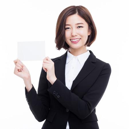 Zaken vrouw met lege kaart. geïsoleerd over white