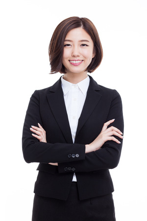 Yong pretty Asian business woman isolated on white background.