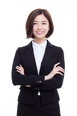 Yong Recht asiatische Geschäftsfrau isoliert auf weißem Hintergrund. Standard-Bild - 42552702