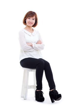 Young Asian woman full shot isolated on white background. Stockfoto