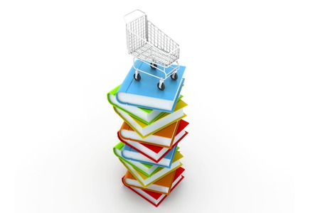 Stack of colourful  books and trolley photo