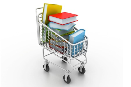 pushcart: colourful books in a shopping trolley