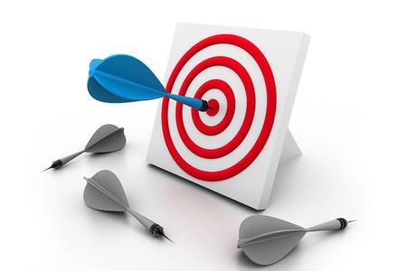 One dart hitting the target