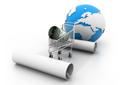 pushcart: Shopping trolley with money  global shopping concept  Stock Photo