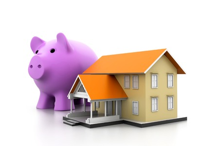 piggy bank and a house model photo