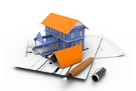 3d bungalow: House model on a plan
