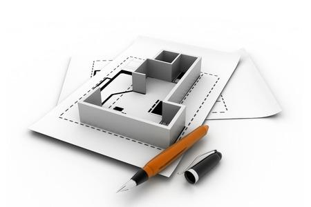 prefabricated: 3d interior plan Stock Photo