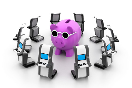 Piggy bank with ATM photo