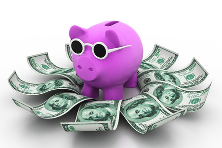 Piggy bank with money photo