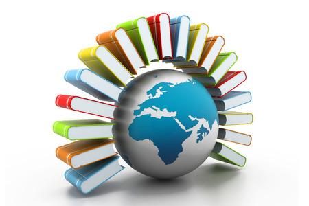 e book: colorful books with world