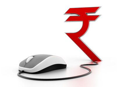 rupees: Rupees symbol connected to a computer mouse