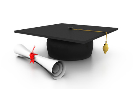 commencement: graduation cap with diploma Stock Photo