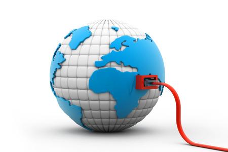 cable red: Cable de red conectado al mundo