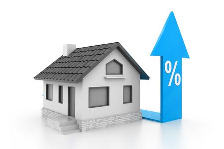 liquidation: Percent symbol with home Stock Photo