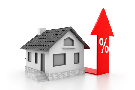 Percent symbol with home Stock Photo