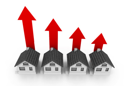 home value: Growing real estate chart Stock Photo