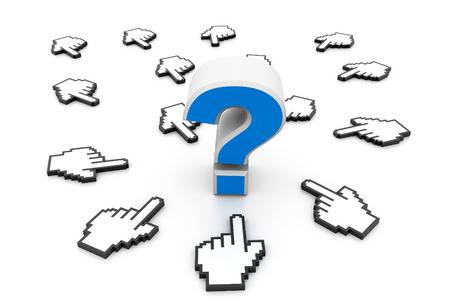 questioner: Question mark and cursors Stock Photo