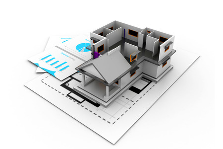 bungalow: 3d House model on a plan Stock Photo