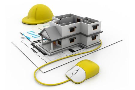 3d bungalow: Online construction concept