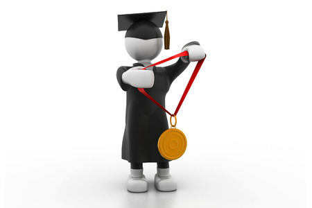 Graduation Student Holding a medal photo