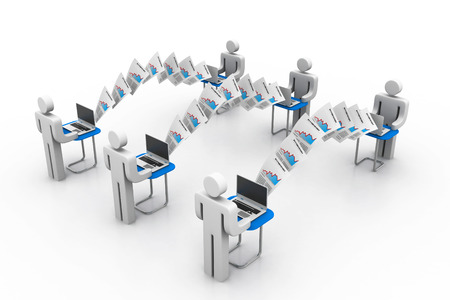 Computer network with data sharing Stock Photo