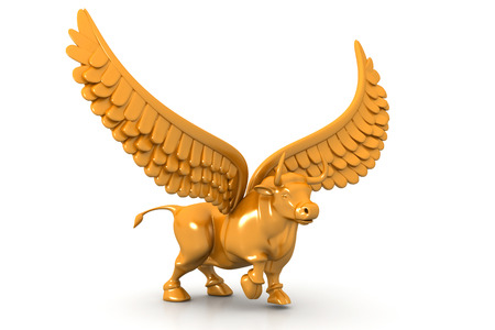 bullish: Business bull with wings
