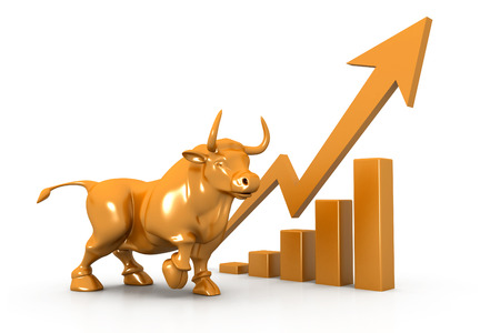 stock market chart: Business growth chart and bull
