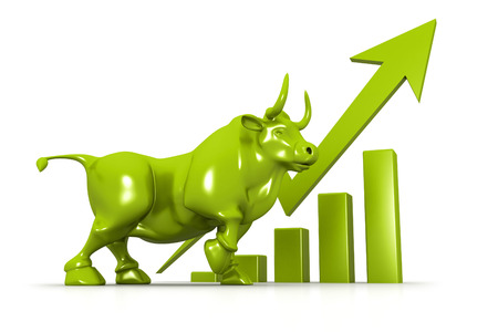bullish: Business growth chart and bull