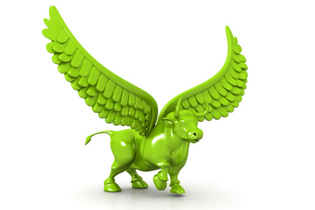 bearish business: Business bull with wings