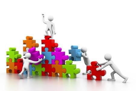 Zakelijke teamwerk gebouw puzzels samen