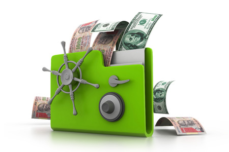solvency: Computer folder with money e- business concept  Stock Photo