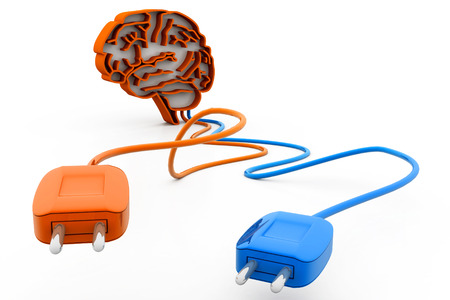 human brain with plug and cable photo