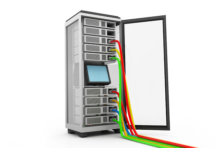 data processors: Server rack with network cables
