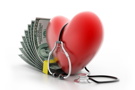 heart with stethoscope and money photo