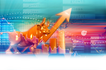 Stock market graph Imagens