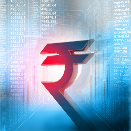 rupee: Indian rupee symbol in business background
