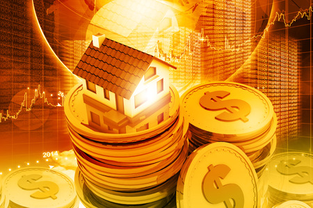 Digital illustration of house on money stack 스톡 콘텐츠