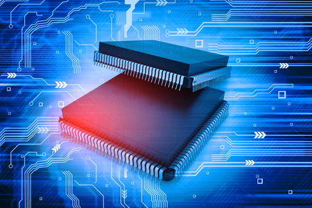 microprocessors: Electronic integrated circuit chip