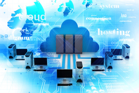 web hosting: Cloud computing Stock Photo