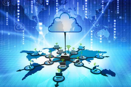 Digital illustration of Cloud computing devices