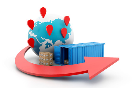 fast delivery: World wide cargo transportation Stock Photo