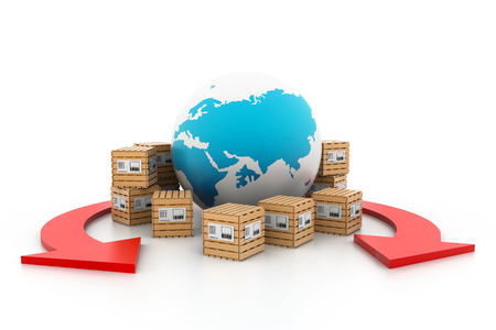 shipment: World wide cargo transportation Stock Photo