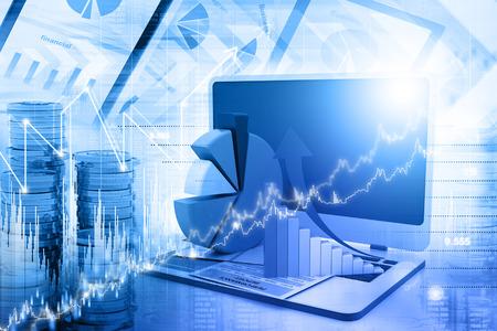 Business grafiek en grafiek Stockfoto