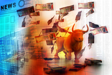 rupee: Business bull and money Stock Photo