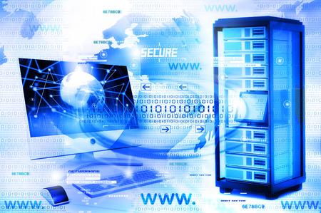 Ilustración digital de la red de ordenadores Foto de archivo - 37463116