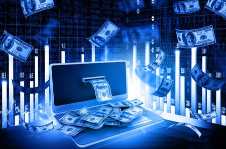 Online geld concept met de beurs grafiek Stockfoto