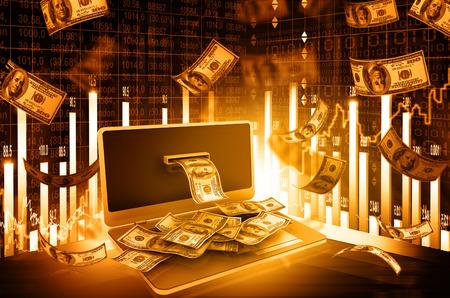 주식 시장 차트와 온라인 돈 개념