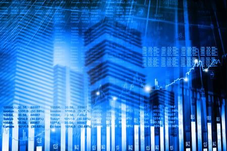 stock listing: stock market graph analysis Stock Photo